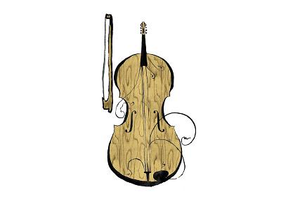 Cello-fiddle Illustration quirky fiddle cello music illustration