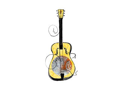 Guitar Illustration dobro guitar quirky music illustration