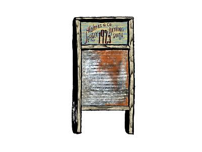 Washboard Illustration ink rust lettering washboard folk quirky music illustration