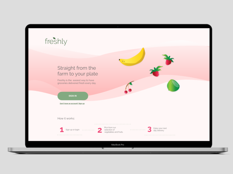 UI - Landing Page for Freshly