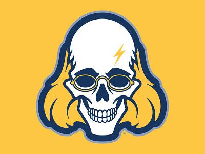 Enlightning™ illustration icon identity sports glasses pennsylvania philadelphia retro yellow blue logo bolt lightning skull ben franklin