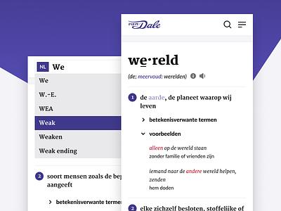 Van Dale - Reponsive translation word dictionary interface web responsive mobile