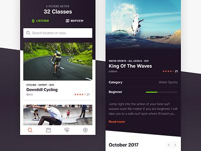 Beatt - Mobile View card responsive app mobile detailpage search social sport