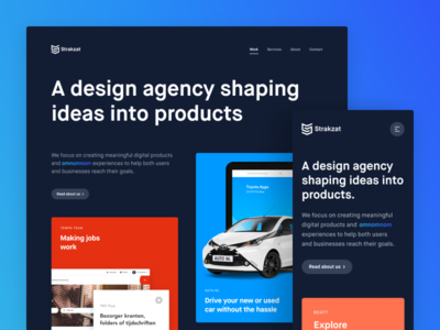 Strakzat - Website agency homepage case study cards grid web responsive