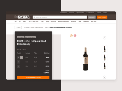 De Kweker - Productpage food commerce shop ecommerce detail page card product web design