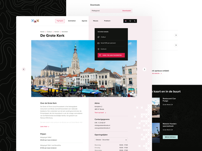 Citymarketing Breda - Activity Page travel web design detail page city activity detail website web