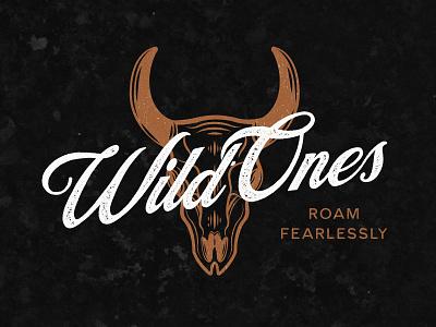 Wild Ones logo design retro typography vintage identity design vector design digital art brand branding boho lettering graphic  design wordmark skull illustration western logo