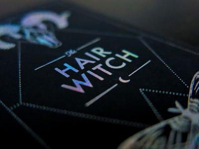 Hair Witch Branding illustraton designer logo designer branding print holographic letterpress foil stamped foil business card design business card typography graphic design brand logo
