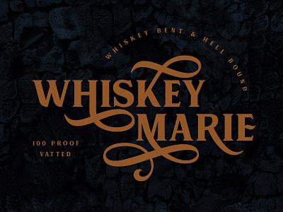 Whiskey Marie Logo graphic design badge vector identity design vintage typography brand logo branding