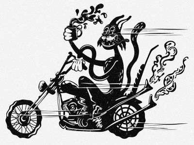 Hellcats Illustration vintage motorcycle cartoon retro digital art typography illustrator illustration