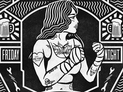 Boxer Illustration poster art poster design boxing tattoo vintage digital art illustrator illustration graphic design