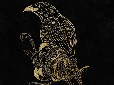 Gold Crow goldfoil gold linework tattoo branding art vector digital art graphic design illustrator illustration