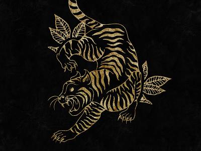 Gold Tiger artist linework lineart art gold foil print design design digital art brand branding illustrator illustration graphic design