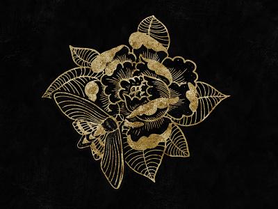 Moth & Peony goldfoil gold print design drawing artwork art brand digital art branding illustration illustrator graphic design