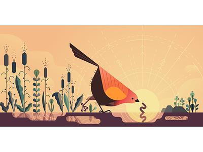 ☀️Early Bird ☀️ vector uber worm sunrise sun bird
