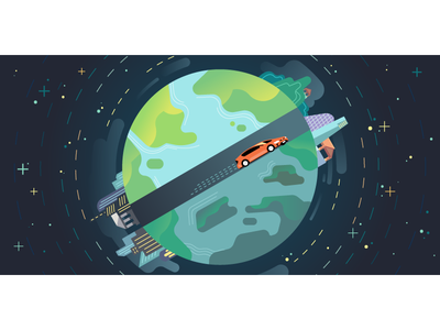 🌎 Diameter of the Earth 🌎 vector city space drive center car earth uber