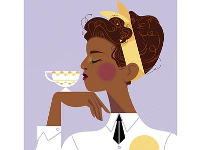 Tea character portrait profile girl woman teacup cup tea