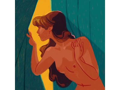 Outside procreate curtain window woman