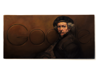 Doodle for Rembrant painting canvas oil logo google doodle doodle google