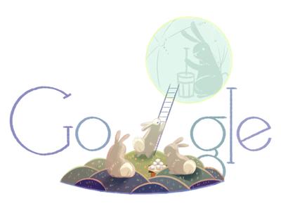 Doodle for Mid-Autumn Festival rabbits bunnies moon festival moon festivalmid autumn festival mid autumn festival logo google doodle doodle google