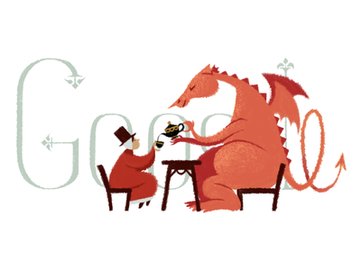 Doodle for St David tea dragon st david logo google doodle doodle google