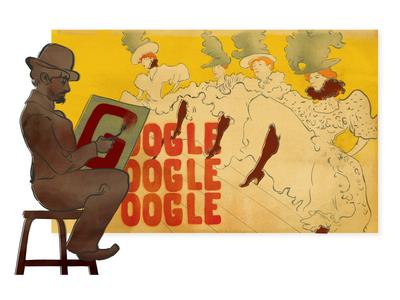 Doodle for Henri de Toulouse Lautrec artist dancers can can toulouse lautrec logo google doodle doodle google