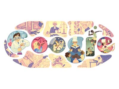 Doodle for International Womens Day astronaut rock star musician artist scientist women logo google doodle doodle google