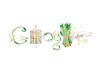 Doodle for Asparagus Day vegetable white gold asparagus logo google doodle doodle google