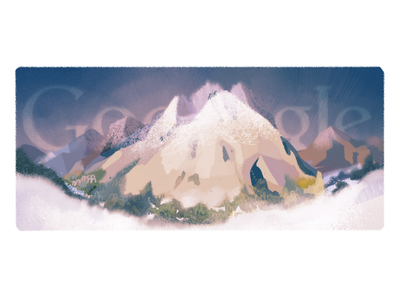 Doodle for the First Ascent of Mont Blanc hike climb mountain mont blanc logo google doodle doodle google