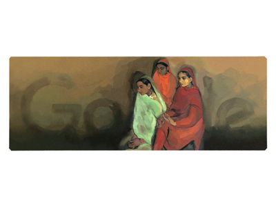 Doodle for Amrita Sher-gil women painter artist sher-gil logo google doodle doodle google