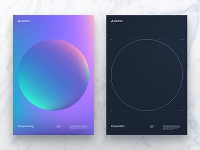 Empowering & Purposeful — Posters circle asana brand layout posters