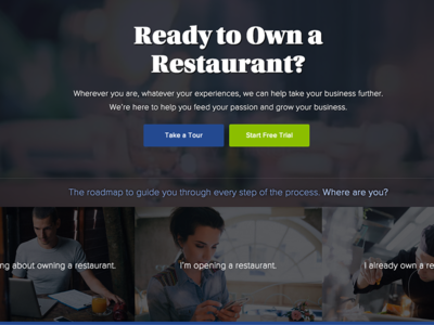 Homepage Concept for Restaurant Owner Resource Website