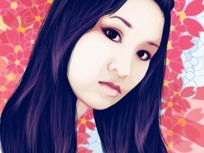 Kabuki Self Portrait portrait illustration