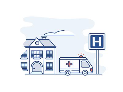 Ambulance illustration icon vector car home hospital ambulance