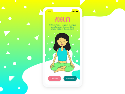 Yogum iphone x ios meditation fitness sport health yoga illustration ui mobile app