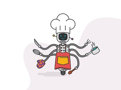 Robot cooking vector illustration smile cook robot