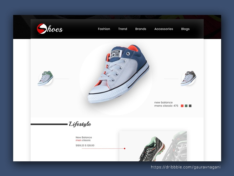 4317f020094ee Shoes E commerce Site - Homepage by gaurav nagani on Dribbble