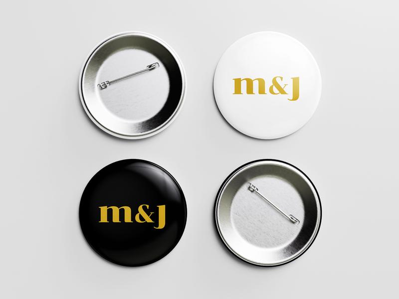 M & J - Pin (Black & White) pin button design button pin button pin mockup pin pin design graphic design cebu philippines art direction merch logo mark symbol logo mark setup event mj brand design branding events mj events