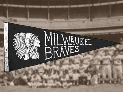 Milwaukee Braves Pennant milwaukee braves pennant baseball