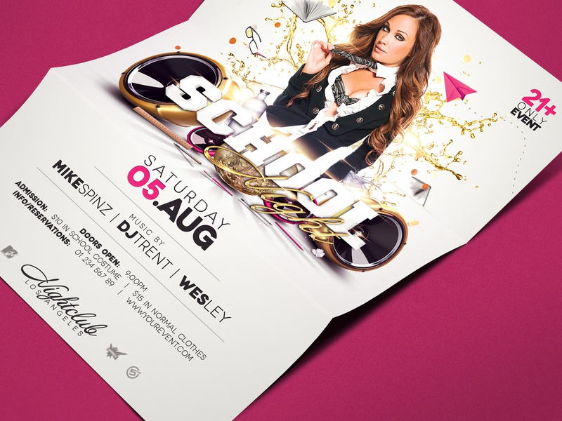 Back to School Club Night Flyer Template pink college night school night back to school flyer template flyer design flyer