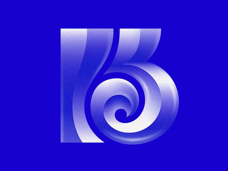 K + კ (Georgian letter K) blue bregvadze gio gradient noise monogram კ k letter vector typography mark logo design bold branding brand