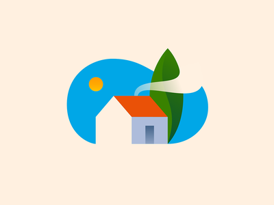 Home - Colored 🏡 symbol space negative nature sun mark logo illustration house home giorgi gio bregvadze color