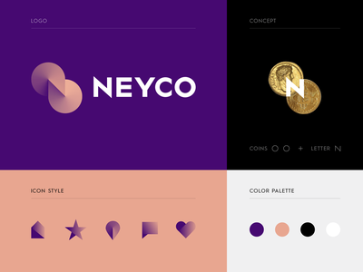 NEYCO - Cryptocurrency exchange bregvadze gio blockchain design identity vector trending n icons mark logo coins coin concept cryptocurrency branding brand agency