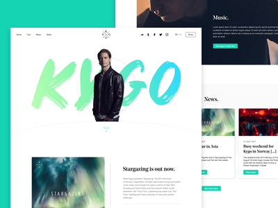Kygo - Concept home website music minimalism landing kygo dj clean