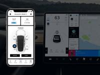 Tesla x Uber - App ios interface uber model 3 application app tesla car animation