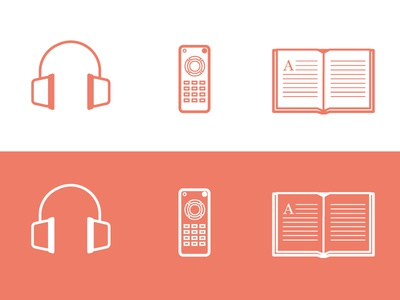 listening / watching / reading icons line icon music headphones tv tv remote book