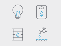 Sector Icons: Electricity, Gas, Oil, Water