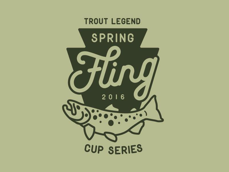 2016 TL Spring Fling badge shirt flyfishing trout fish illustration design