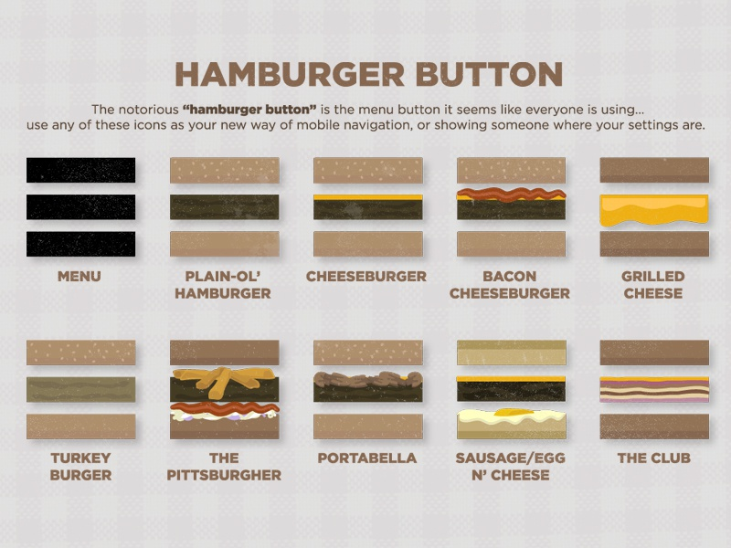 Hamburger Buttons icons ux ui design web menu navigation mobile