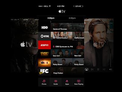 Apple TV Guide for iOS ui ux apple ios dark helvetica freebie hbo espn fox remote app handsome challenge